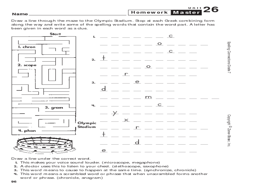 Spelling Maze Greek Roots Worksheet for 7th 8th Grade