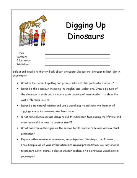 digging up dinosaurs worksheet for 4th 6th grade lesson planet. Black Bedroom Furniture Sets. Home Design Ideas