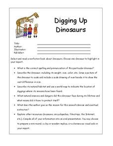 Digging Up Dinosaurs Worksheet