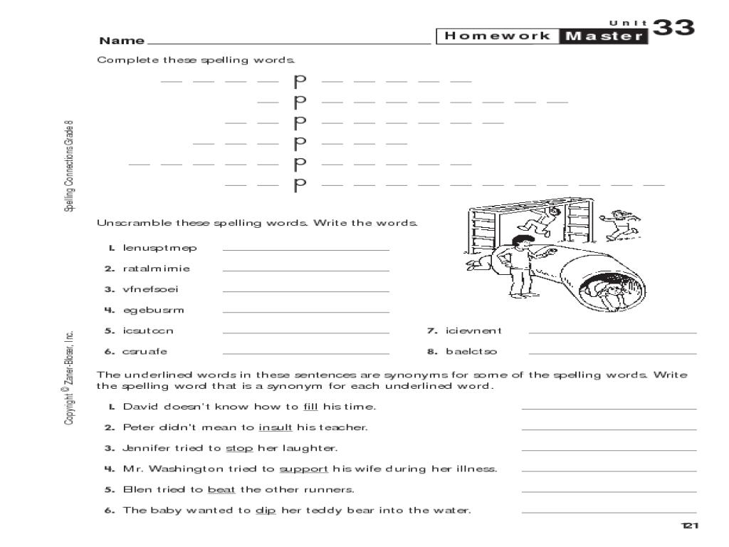 8th grade spelling homework master worksheet for 8th grade lesson planet. Black Bedroom Furniture Sets. Home Design Ideas