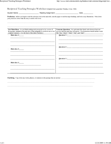 Reciprocal Teaching Strategies Worksheet Worksheet for 5th - 10th
