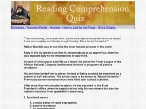 nelson mandela vocabulary comprehension essay Apartheid lesson plans and worksheets from thousands of teacher they define vocabulary, complete comprehension reading comprehension: nelson mandela.