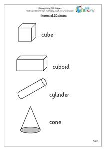 Recognizing Three Dimensional Shapes Worksheet