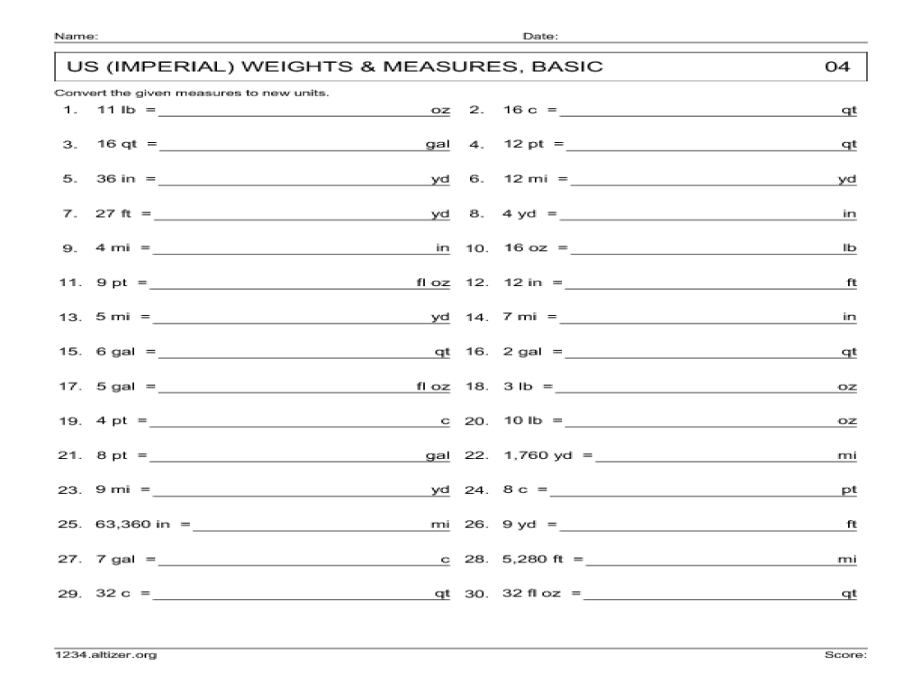 Imperial To Metric Conversion Worksheets 1st grade math worksheets ...