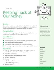 Keeping Track of Our Money Lesson Plan