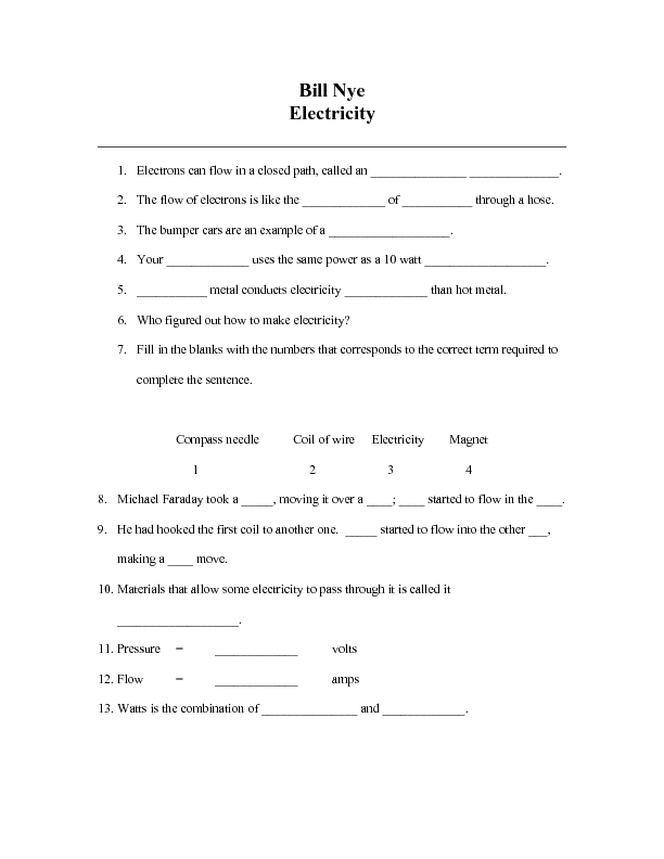 Pictures Bill Nye Electricity Worksheet - Toribeedesign