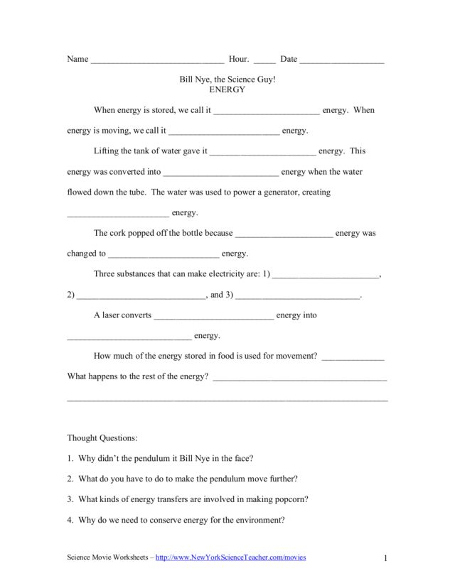 Bill Nye, the Science Guy! Energy Worksheet for 5th - 6th ...