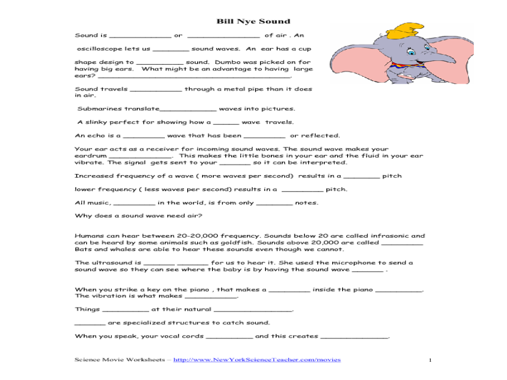 Bill Nye - Sound Worksheet for 5th - 7th Grade | Lesson Planet