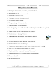 Bill Nye Video Questions Lesson Plans & Worksheets