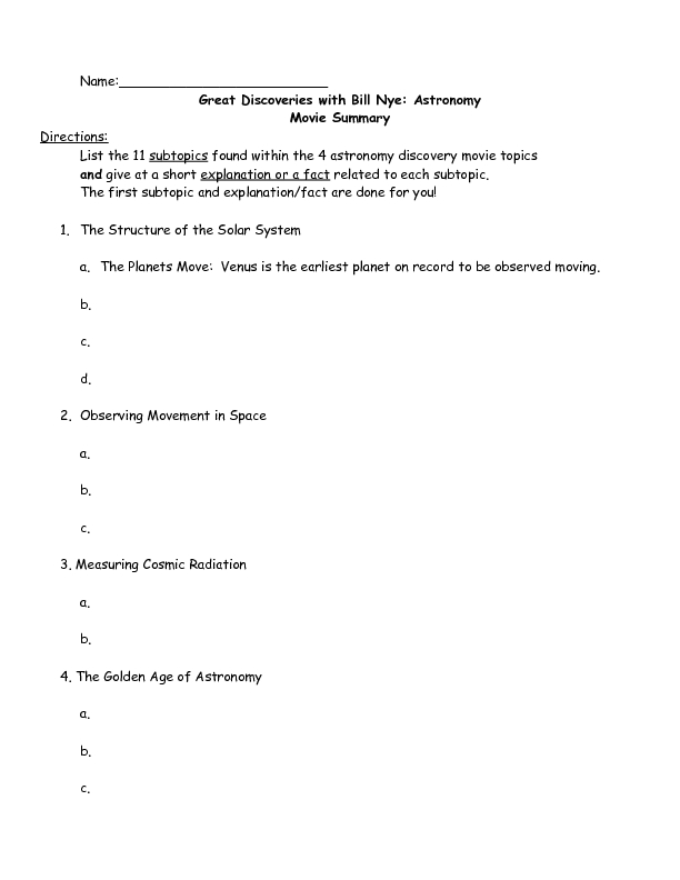 great discoveries with bill nye astronomy movie summary worksheet
