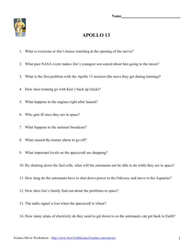 Apollo 13 Review Guide Worksheet for 5th - 12th Grade ...