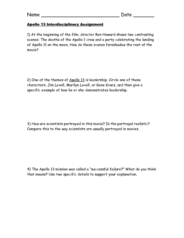 Apollo 13: Movie Worksheet Worksheet for 7th - 8th Grade ...