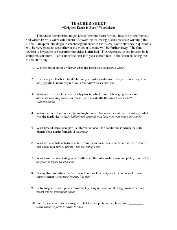 Origin Of Life On Earth Worksheet Answers - Deployday