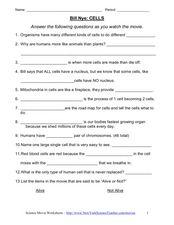 Worksheets Bill Nye Cells Worksheet bill nye cells video worksheet 6th 7th grade worksheet