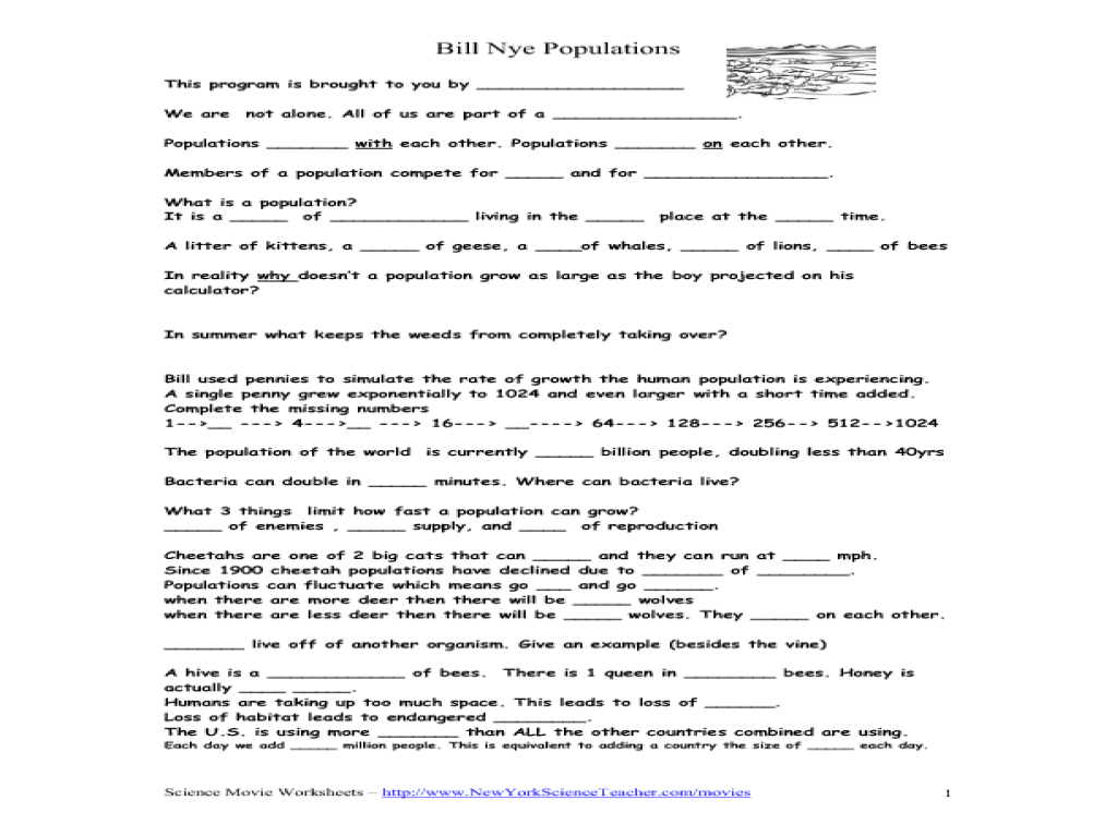 Bill Nye Populations Movie Worksheet Worksheet For 6th