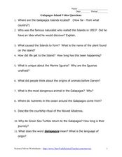 Galapagos Island Video Questions Worksheet