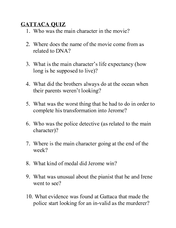 Gattaca Movie Review 7th 8th Grade Worksheet – Gattaca Worksheet Answers