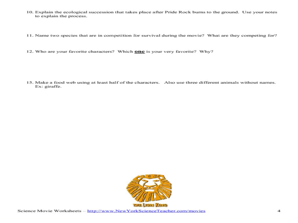 Lion King The Movie Understanding The Ecosystem Worksheet