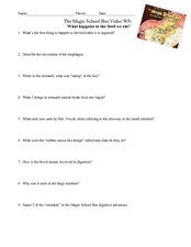 The Magic School Bus Video (What Happens When We Eat?) Worksheet for ...