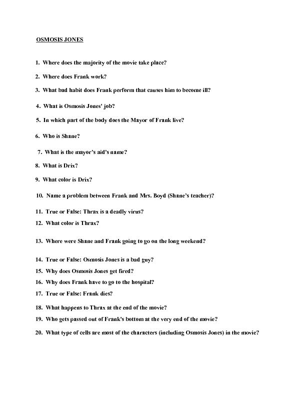 Movie Quiz: Osmosis Jones Worksheet for 4th - 6th Grade ...