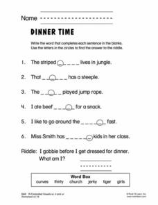 Dinner Time Worksheet