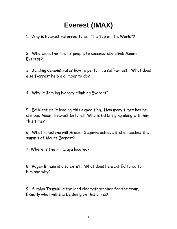 Everest Movie Lesson Plans Worksheets Reviewed By Teachers