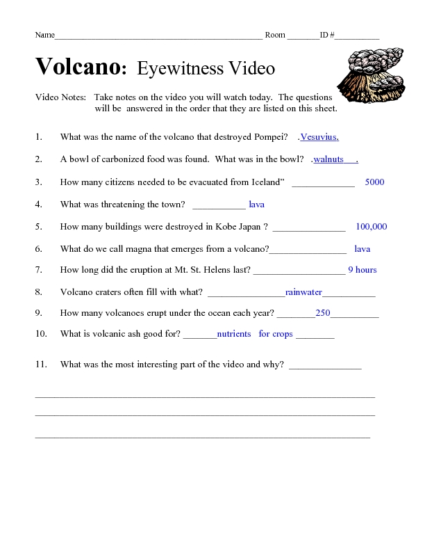 Volcano Eyewitness Video Questions Lesson Plans Worksheets