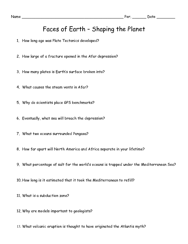 Faces of Earth – Shaping the Planet Worksheet for 6th - 10th ...