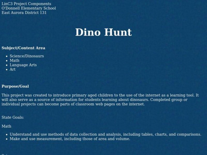 Dino Hunt Lesson Plan