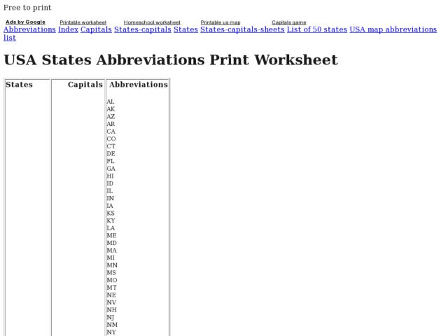 USA States Abbreviations Graphic Organizer