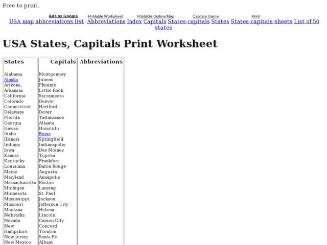 USA States, Capitals Print Worksheet Worksheet for 2nd - 12th Grade on