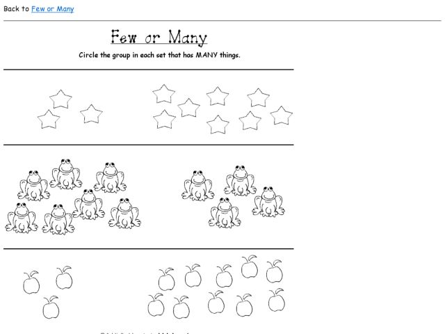 Few Or Many Worksheet For Kindergarten - 2nd Grade