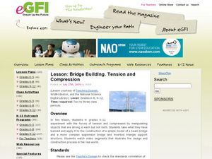 Bridge Building, Tension, and Compression Lesson Plan