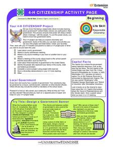 4-H Citizenship Activity Page Worksheet