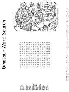 Dinosaur Word Search Worksheet