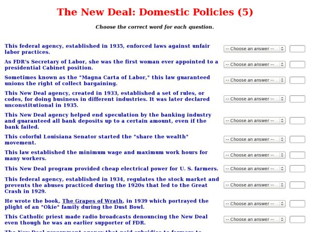 The New Deal Domestic Policies 5 Worksheet For 9th 12th Grade