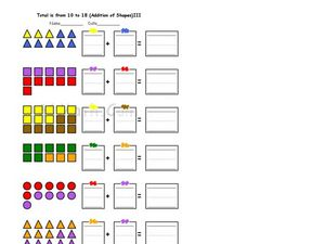 Addition Using Math Counters 2 Worksheet