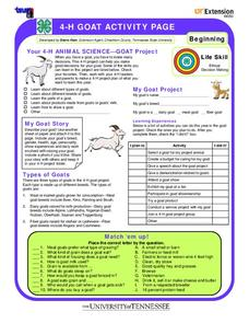 4-H Goat Activity Page Worksheet