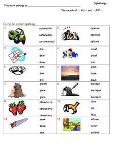 Diphthongs Worksheet