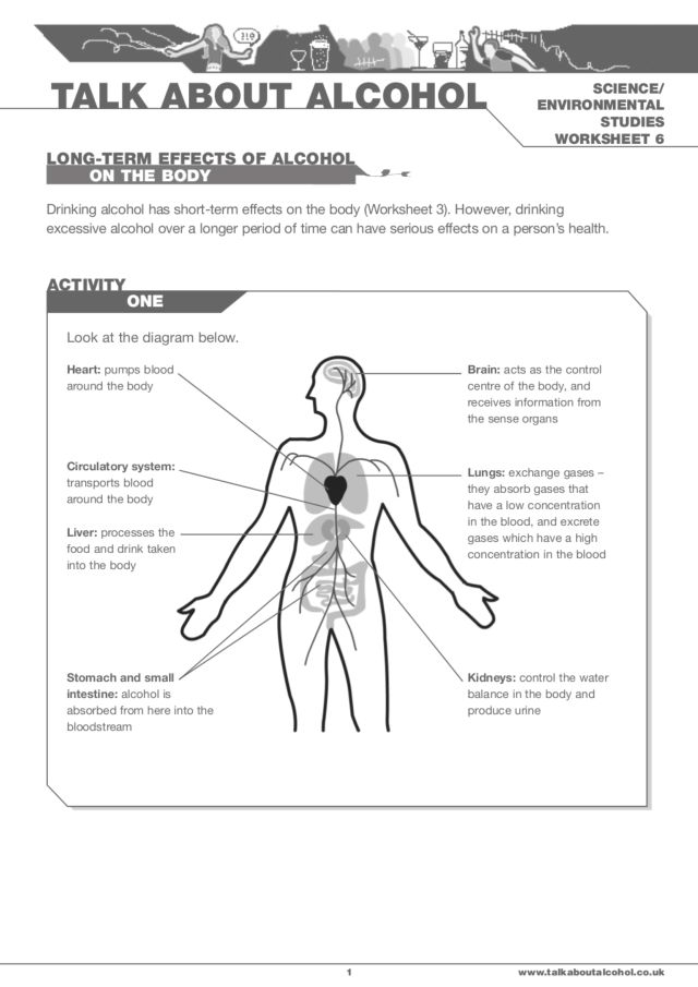 Long Term Effects of Alcohol on the Body 6th 9th Grade Worksheet – Affect Effect Worksheet