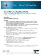 Great Monuments of the World Lesson Plan