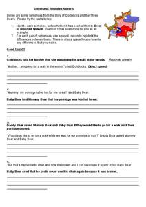 Direct and Reported Speech Worksheet
