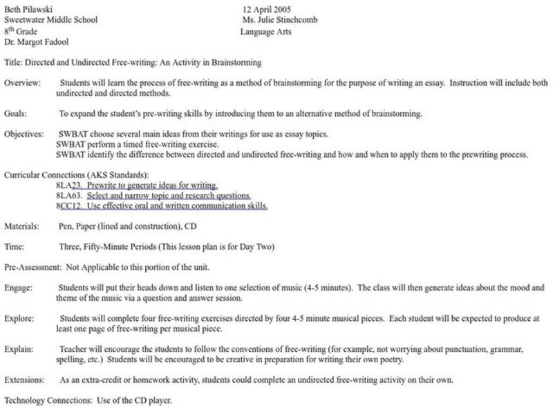 Essay Writing Lesson Plans Middle School