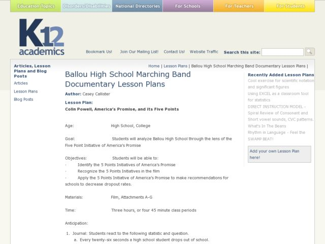 Ballou High School Marching Band Documentary Lesson Plans 9th ...