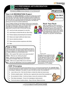 4-H Performing Arts/Recreation Activity Page Worksheet