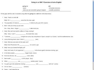 Going to or Will Exercise Worksheet for 5th - 10th Grade