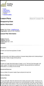Disappearing Water Lesson Plan