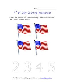 4th of July Counting Worksheet Worksheet
