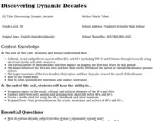 Discovering Dynamic Decades Lesson Plan