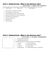 Radioactivity-What is the Nucleus Like? Worksheet